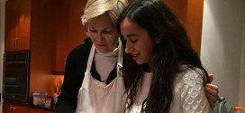 Senator Warren Making Valentines Day Cake with Granddaughter