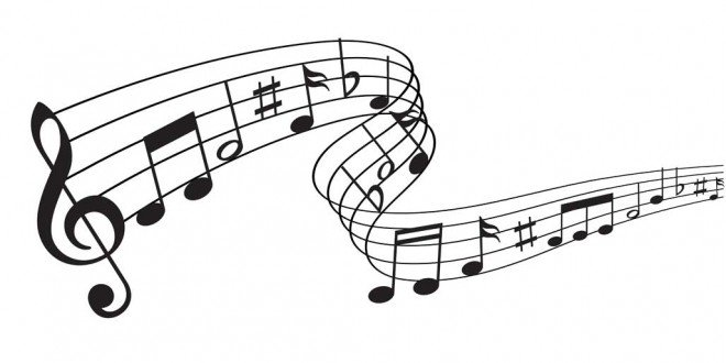 Music notes for song lyrics